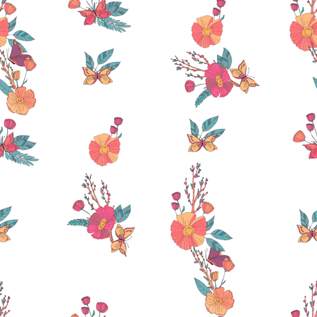 butterfly in hand: Floral Seamless Vintage Pattern With Wildflowers and Butterfly. Hand Drawn Vector Illustration