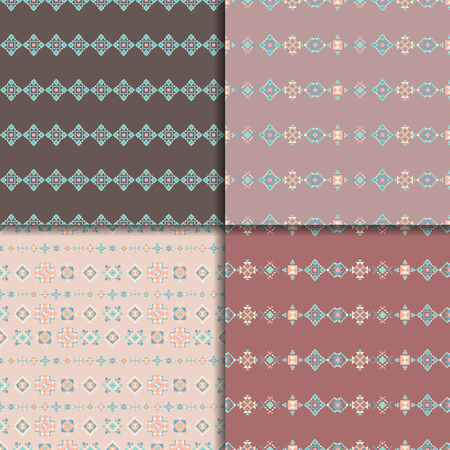 vector ornament: Geometric ethnic seamless pattern set. Aztec geometric backgrounds. Vector ornament, abstract seamless pattern. Good for web, print, wrapping paper Illustration