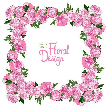 peonies: Vector frame with pink peonies on a white background.