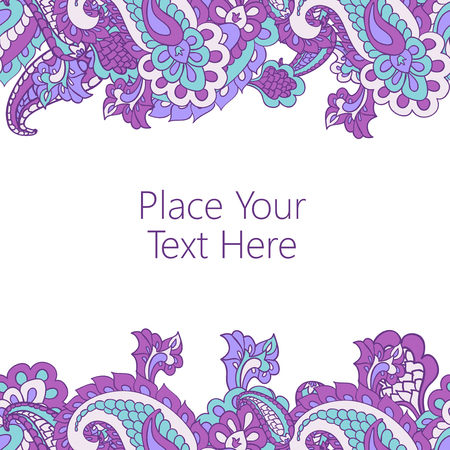 horisontal: Abstract horisontal paisley border with place for your text. Good  for page decoration, invitation, greetings cards  or announcements.