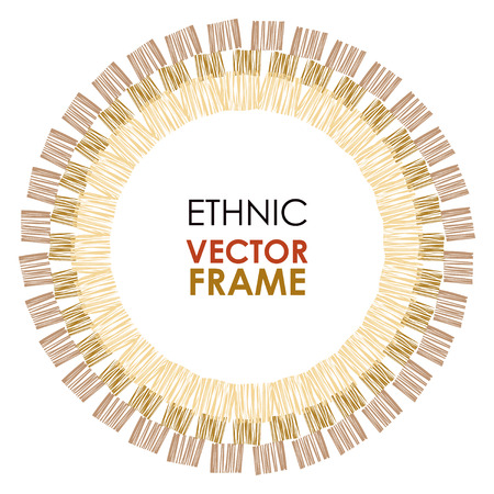 Abstract vector frame. Ethnic circle frame, hand drawn. African tribal vector striped frame Çizim