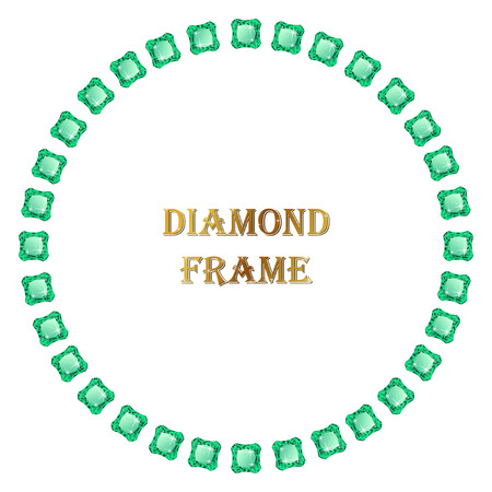 jewerly: Emelald round frame. Vector jewerly border and place for your text. Illustration