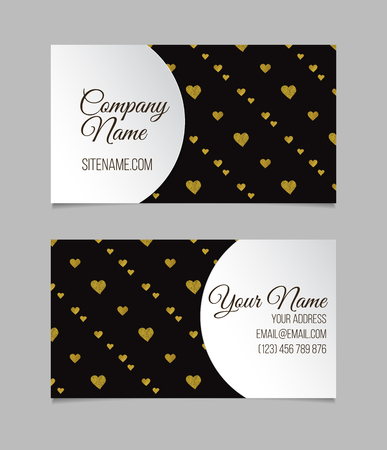 Business card template. Visiting card with golden foil hearts. Double-sided vector business card.