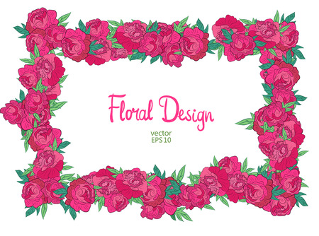 horisontal: Vector horisontal floral frame with peonies on a white background. Stock Photo