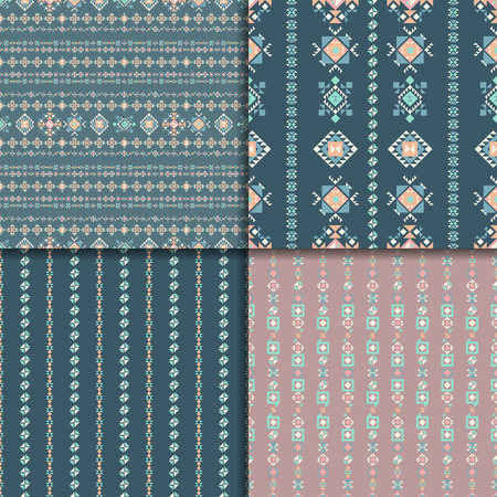 vectoe: Geometric ethnic seamless pattern set. Aztec geometric backgrounds. Vector ornament, abstract seamless pattern.