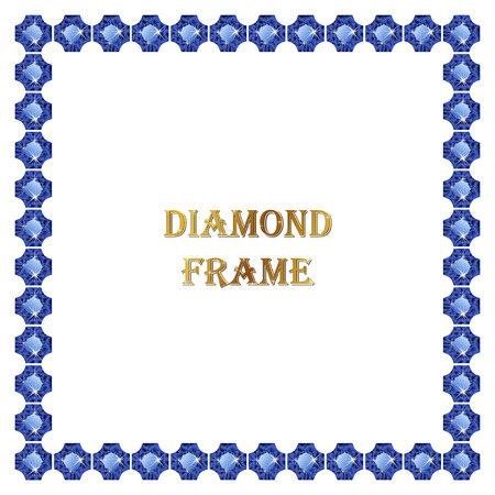 square frame: Sapphire square frame. Vector illustration jewerly. Abstract diamond vector. Diamond border