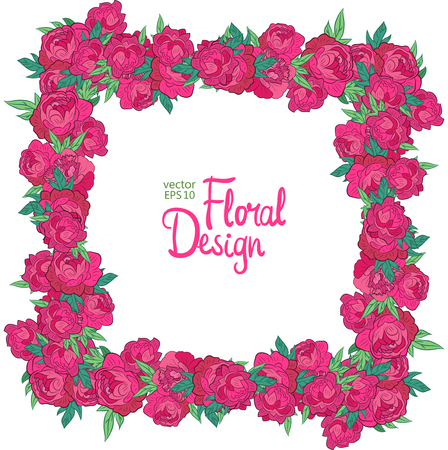 peonies: Vector frame with peonies on a white background. Floral design