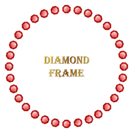 jewerly: Ruby round frame. Vector jewerly border and place for your text.