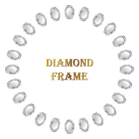 jewerly: Diamond round frame. Vector jewerly background and place for your text. Abstract diamond border Stock Photo