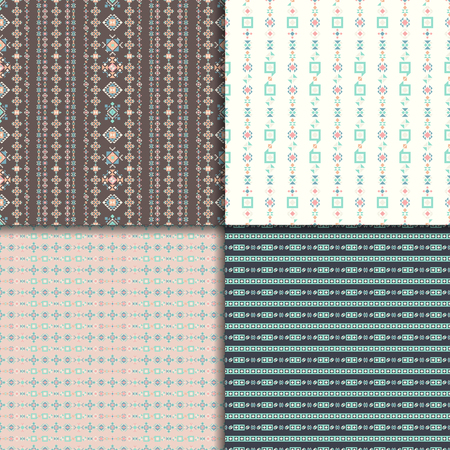 vector ornament: Geometric ethnic seamless pattern set. Aztec geometric backgrounds. Vector ornament, abstract seamless pattern.