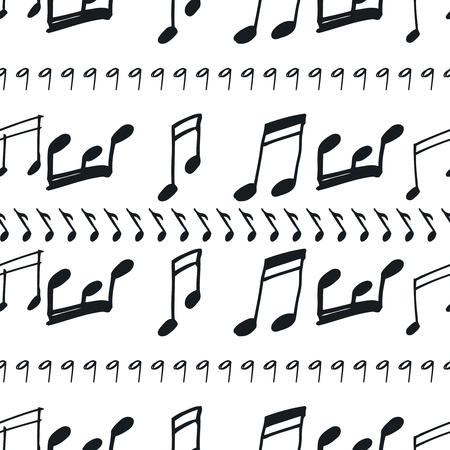 Seamless Pattern With Music Notes Hand Drawn Music Seamless