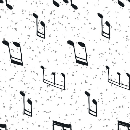 grooves: Seamless pattern with music notes. Hand-drawn music seamless background, black and white. Vector notes