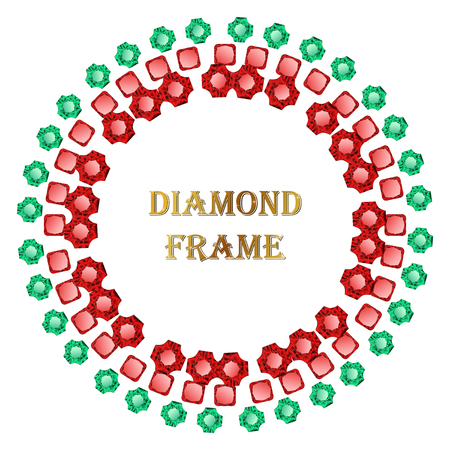 jewerly: Diamond round frame. Vector jewerly background and place for your text. Abstract diamond border Illustration