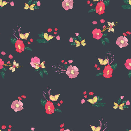 butterfly in hand: Floral Seamless Vintage Pattern With Wildflowers and Butterfly. Hand Drawn Illustration