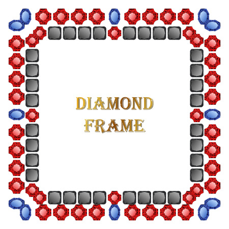 jewerly: Diamond square frame. Vector jewerly background and place for your text. Abstract diamond border