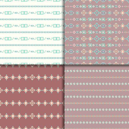 Geometric ethnic seamless pattern set. Aztec geometric backgrounds. Vector boho ornament