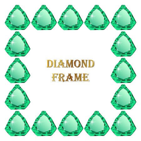 jewerly: Emerald square frame. Vector illustration jewerly. Abstract diamond vector. Diamond border Illustration