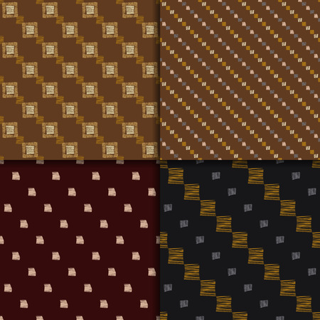 contrast: African pattern. Tribal seamless background. Abstract seamless patterns, vector set. Checkered patterns. brown abstract pattern. Hand drawn, ethnic pattern set. Illustration