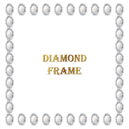 jewerly: Diamonds square frame. Vector illustration jewerly. Abstract diamond vector. Diamond border