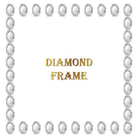 jewerly: Diamonds square frame. Vector illustration jewerly. Abstract diamond vector. Diamond border