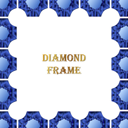 jewerly: Sapphire square frame. Vector jewerly background and place for your text. Abstract diamond border