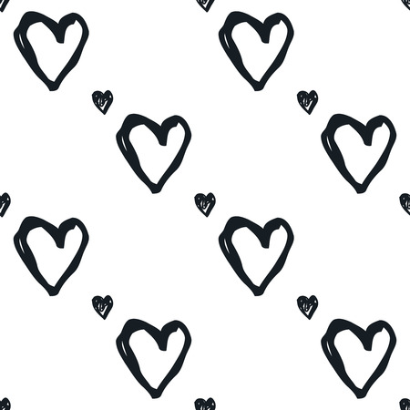 hand heart: Doodle seamless pattern with hearts. Black and white heart vector background. Seamless heart pattern. Valentines day background