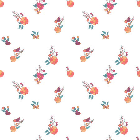 wildflowers: Floral Seamless Vintage Pattern With Wildflowers and Butterfly Illustration