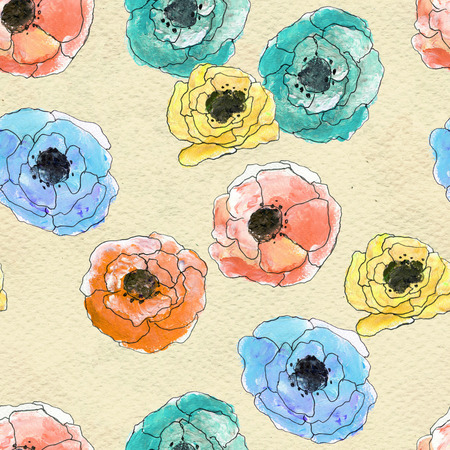 colorfull: Seamless pattern with colorful flowers. Floral seamless watercolor background. Colorfull hand-drawn flower seamless pattern. Hand-drawn seamless floral background