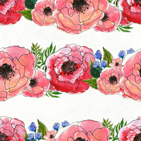briar: Seamless pattern with briar roses. Floral seamless watercolor background. Horisontal rows of flowers seamless pattern. Hand-drawn illustration Stock Photo