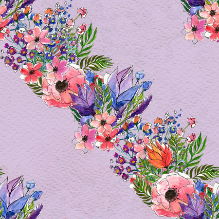briar: Floral seamless watercolor pattern. Diagonal Rows of flowers. Floral garland. Wildflowers and briar rose seamless hand drawn background. Floral illustration