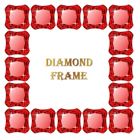 jewerly: Ruby square frame. Vector illustration jewerly. Abstract diamond vector. Diamond border