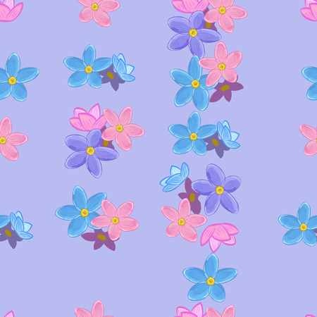 me: Floral seamless pattern with forget-me-not. Forget me not flowers. Illustration
