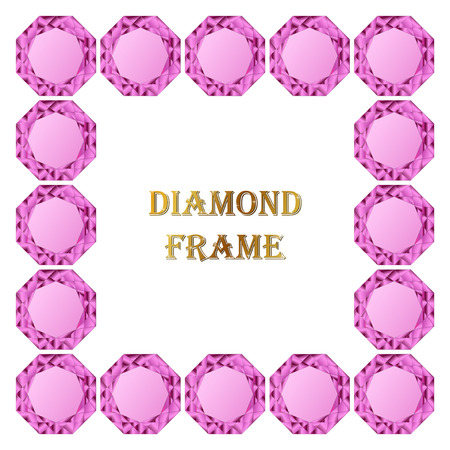jewerly: Pink diamond square frame. Vector jewerly background and place for your text. Abstract diamond border