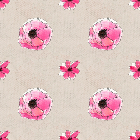 briar: Seamless pattern with briar roses. Floral seamless watercolor background. Red flower seamless pattern. Hand-drawn illustration Stock Photo