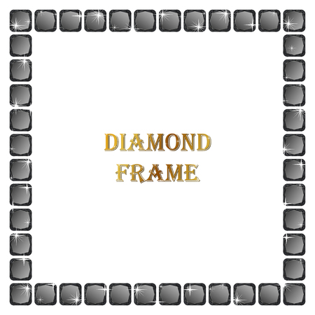 jewerly: Black diamond square frame. Vector jewerly background and place for your text. Abstract diamond border Illustration