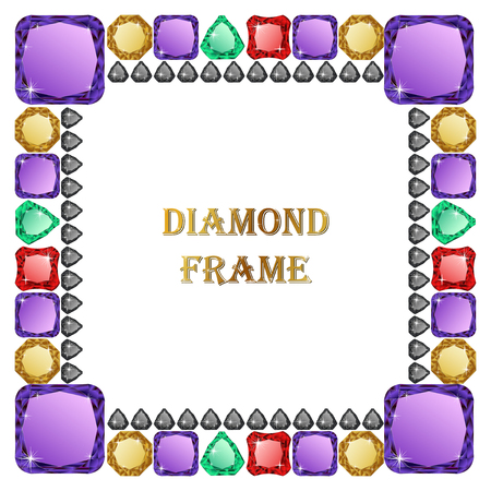jewerly: Diamond square frame. Vector illustration jewerly. Abstract diamond vector. Diamond border