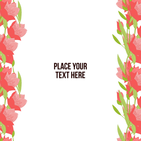 mammy: Horisontal floral frame made of red tulips on white background. Copy-space