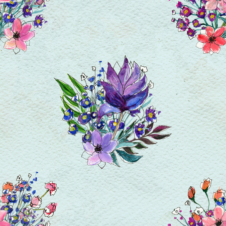 briar: Floral seamless watercolor pattern. Wildflowers and briar rose seamless hand drawn background. Floral illustration
