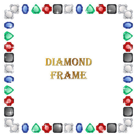 diamond background: Diamond square frame. Vector jewerly background and place for your text. Abstract diamond border