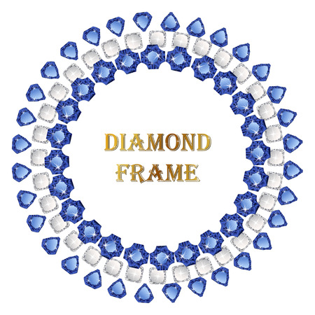 jewerly: Sapphire round frame. Vector jewerly background and place for your text. Abstract diamond border