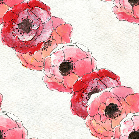 briar: Seamless pattern with briar roses. Floral seamless watercolor background. Diagonal rows of flowers seamless pattern. Hand-drawn illustration