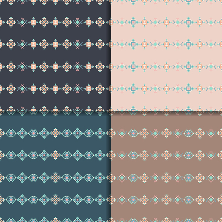 digital design: Geometric ethnic seamless pattern set. Aztec backgrounds. Abstract seamless pattern.