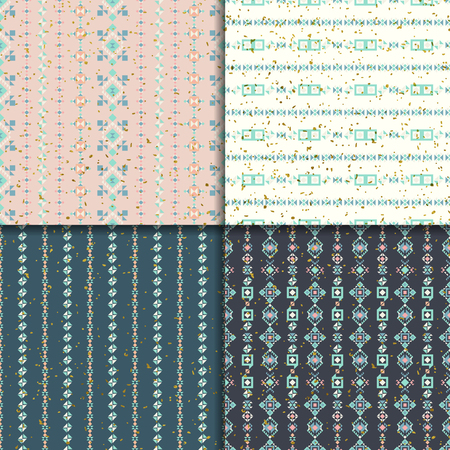 vectoe: Geometric seamless patterns. Abstract ornament. Ethnic background, aztec pattern