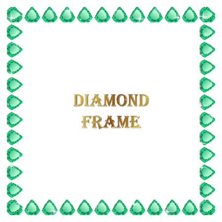 jewerly: Emerald square frame. Vector jewerly background and place for your text. Abstract jewerly border Illustration
