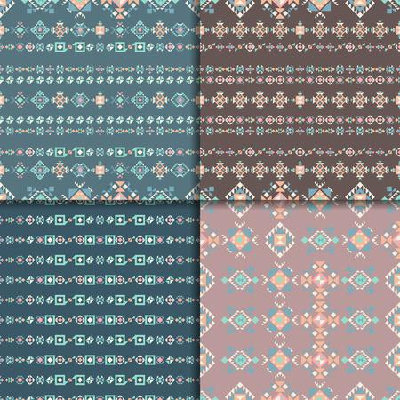 Geometric ethnic seamless pattern set. Aztec geometric backgrounds. Vector ornament