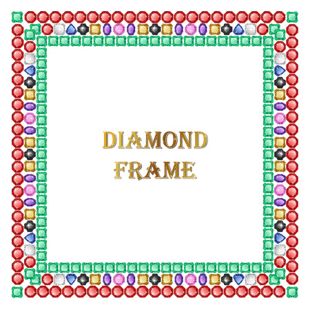 jewerly: Diamond square frame. Vector jewerly background and place for your text. Abstract diamond vector. Diamond border