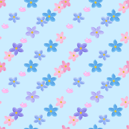 forget me not: Floral seamless pattern with forget-me-not.  Diagonal rows of flowers. Forget me not flowers.