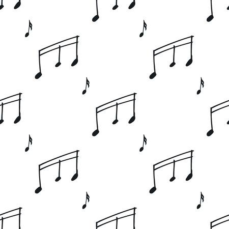 음악 노트와 원활한 패턴입니다. 손으로 그린 음악 원활한 배경, 흑인과 백인. 벡터 노트 일러스트