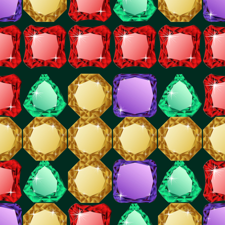 jewerly: Abstract diamond vector background. Colorful Jem seamless pattern.