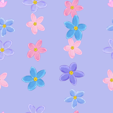 Floral violet seamless pattern with forget-me-not flowers.